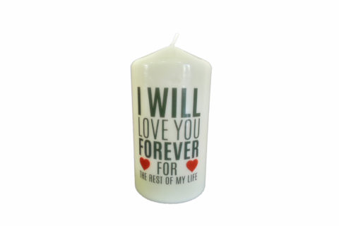 Candle personalized with Decal Laser T (FC ME130BLU)