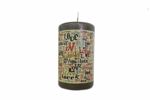 Candle personalized with Decal Laser W (FC ME130BLUW)