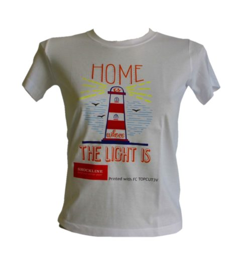 Light colored t-shirt personalized with Topcut (FC TOPCUT3V)