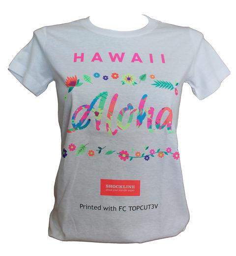 T-shirt bianca personalizzata con topcut3v stampato con Pro 6410 neon