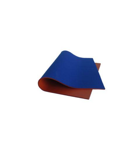 Stuoia silicone espanso rosso, retro in PL blu, 3 mm (MA STUOI R32-MA STUOI R27))