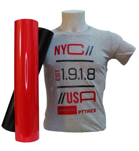 T-shirt grigia personalizzata con flex PTTHICK spessore 650 my