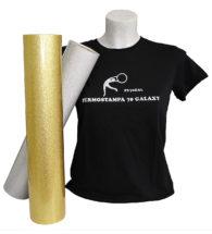 t-shirt colorata personalizzazt con termoadesivo glitter