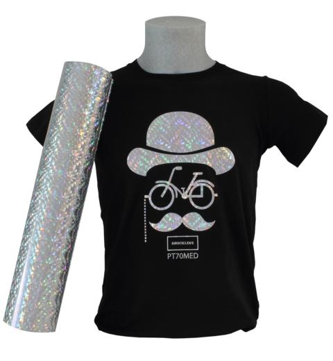 T-shirt nera personalizzata con Flex effetto diffrazione colore Rainbow (PT70MED)
