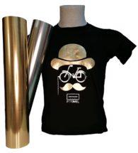 T-shirt Colorata personalizzata con Flex 70 oro e argento metallizzati lucidi (PT70MEL)