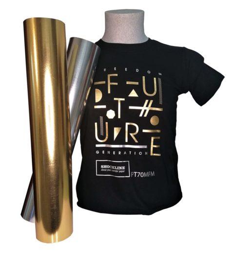 T-shirt Colorata personalizzata con Flex 70MF oro e argento metallizzati lucidi (PT70MFMEL)