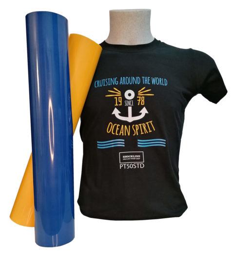 T-shirt nera personalizzata con Flex 50 standard e colori speciali(PT50)