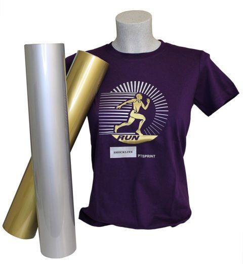 T-shirt colorata personalizzata con flex, Termoadesivo da taglio colori oro e argento opachi, Flex Print Meo