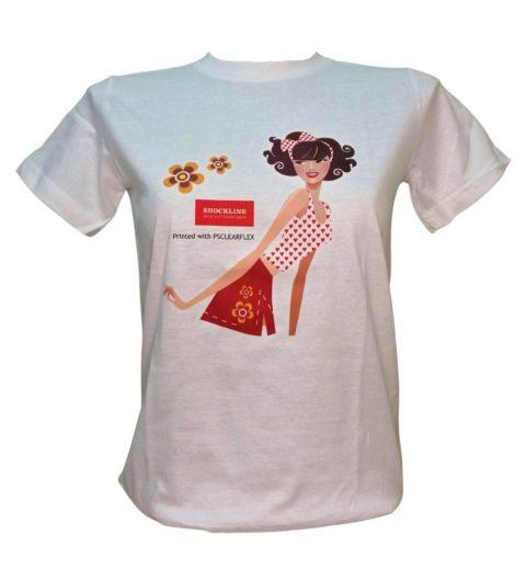 T-shirt bianca persinalizzata con transfer per plotter solvent eco-solvent PSCLEAR